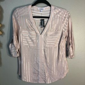 EXPRESS Deep V, Tab Sleeve Top. Rayon Fabric,